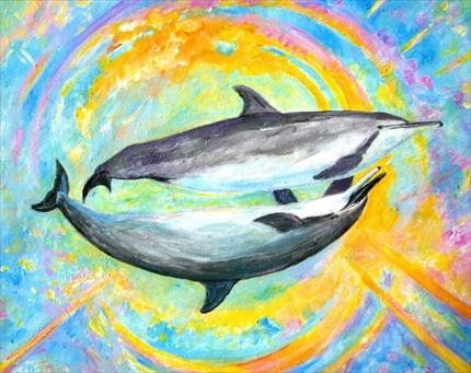 Delfinul Angelic Auriu și Balena